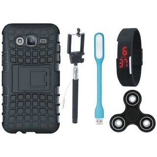 Samsung On7 Prime Defender Tough Hybrid Shockproof Cover with Spinner, Selfie Stick, Digtal Watch and USB LED Light