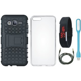 Oppo A83 Shockproof Kick Stand Defender Back Cover with Silicon Back Cover, Digital Watch, USB LED Light and AUX Cable