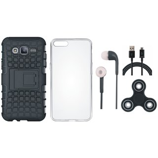 Samsung On7 Prime Defender Tough Hybrid Shockproof Cover with Spinner, Silicon Back Cover, Earphones and USB Cable