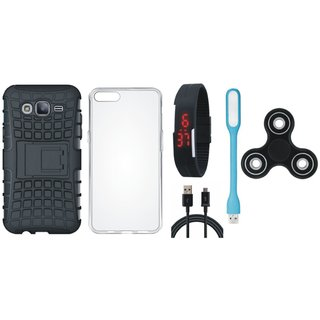 Samsung On7 Prime Defender Tough Hybrid Shockproof Cover with Spinner, Silicon Back Cover, Digital Watch, USB LED Light and USB Cable