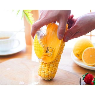 Skycandle Corn Stripper, Corn Peeler, Corn Cutter, Corn Cob, Corn Shucker Remover, Creative Kitchenware, Quick Corn Cob Remover, Kitchen Cooking Tools with Hand Protector - Red