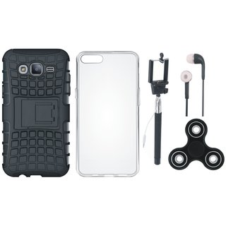 Samsung On7 Prime Defender Tough Hybrid Shockproof Cover with Spinner, Silicon Back Cover, Selfie Stick and Earphones