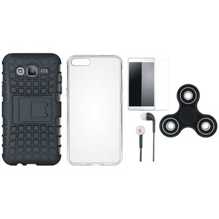 Samsung On7 Prime Defender Tough Hybrid Shockproof Cover with Spinner, Silicon Back Cover, Earphones and Tempered Glass