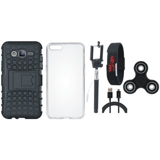 Samsung On7 Prime Defender Tough Hybrid Shockproof Cover with Spinner, Silicon Back Cover, Selfie Stick, Digtal Watch and USB Cable