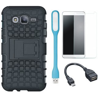 Samsung On7 Prime Defender Tough Armour Shockproof Cover with Tempered Glass, USB LED Light and OTG Cable