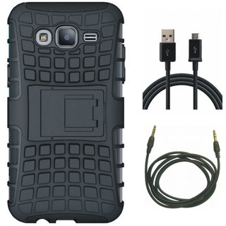 Samsung On7 Prime Defender Tough Armour Shockproof Cover with USB Cable and AUX Cable