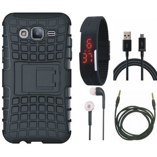 Samsung On7 Prime Defender Tough Armour Shockproof Cover with Digital Watch, Earphones, USB Cable and AUX Cable