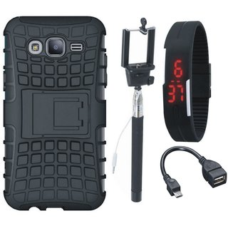 Samsung On7 Prime Defender Tough Armour Shockproof Cover with Selfie Stick, Digtal Watch and OTG Cable