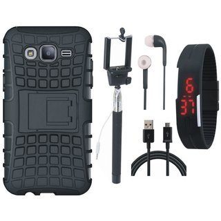 Samsung On7 Prime Defender Tough Armour Shockproof Cover with Selfie Stick, Digtal Watch, Earphones and USB Cable