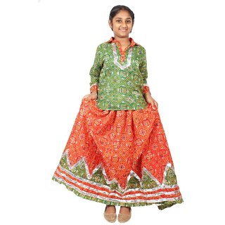 NFD GUJRATI GIRL MULTICOLOR KID'S FANCY DRESS
