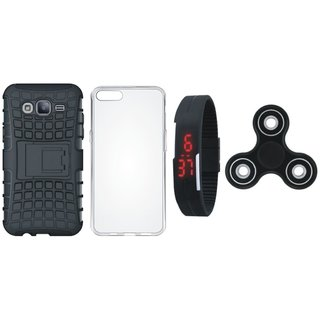 Samsung J7 Pro Defender Back Cover with Kick Stand with Spinner, Silicon Back Cover, Digital Watch
