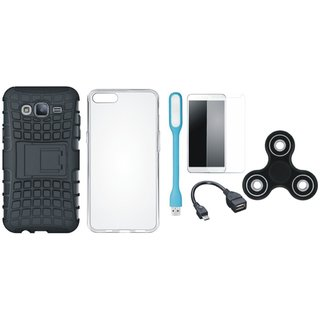 Samsung J7 Pro Defender Tough Hybrid Shockproof Cover with Spinner, Silicon Back Cover, Tempered Glass, USB LED Light and OTG Cable