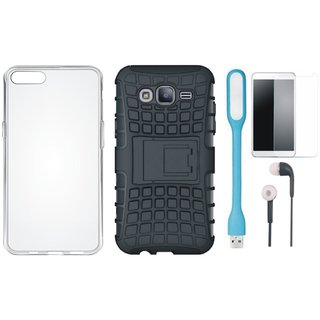 Samsung On7 Prime Shockproof Tough Defender Cover with Silicon Back Cover, Tempered Glass, Earphones and USB LED Light