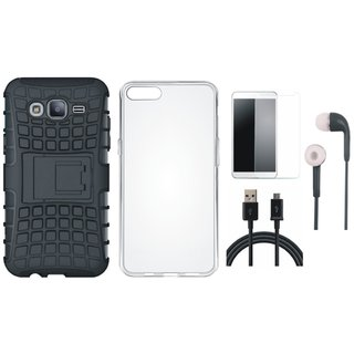 Oppo F7 Shockproof Tough Armour Defender Case with Silicon Back Cover, Earphones, Tempered Glass and USB Cable