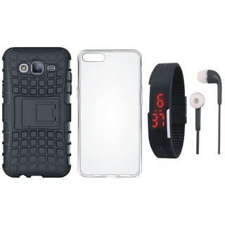 Oppo F7 Shockproof Tough Armour Defender Case with Silicon Back Cover, Digital Watch and Earphones