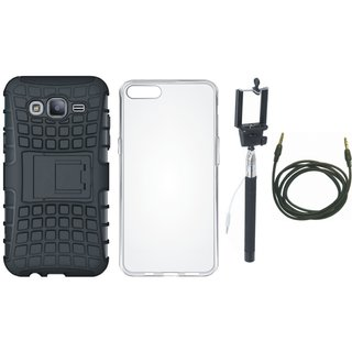 Oppo F7 Shockproof Tough Armour Defender Case with Silicon Back Cover, Selfie Stick and AUX Cable