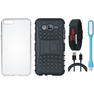 Samsung J7 NXT Defender Tough Hybrid Shockproof Cover with Silicon Back Cover, Digital Watch, USB LED Light and USB Cable