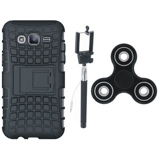 Samsung J7 NXT Defender Tough Hybrid Shockproof Cover with Spinner, Free Silicon Back Cover and Selfie Stick