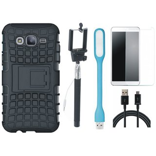 Oppo F7 Shockproof Tough Armour Defender Case with Free Selfie Stick, Tempered Glass, LED Light and USB Cable