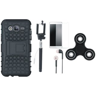 Oppo F7 Shockproof Tough Armour Defender Case with Free Spinner, Selfie Stick, Tempered Glass and Earphones