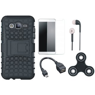 Samsung J7 Pro Shockproof Tough Armour Defender Case with Spinner, Tempered Glass, Earphones and OTG Cable