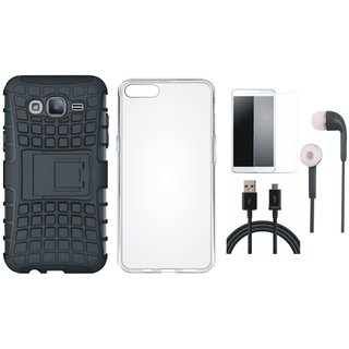 Samsung J7 Pro Shockproof Kick Stand Defender Back Cover with Silicon Back Cover, Tempered Glass, Earphones and USB Cable