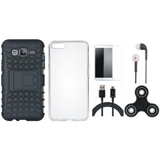 Samsung J7 Pro Shockproof Tough Armour Defender Case with Spinner, Silicon Back Cover, Earphones, Tempered Glass and USB Cable