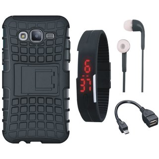 Samsung J7 NXT Defender Tough Armour Shockproof Cover with Digital Watch, Earphones and OTG Cable