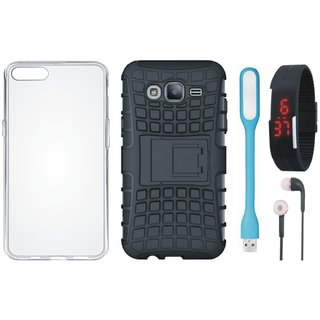 Samsung J7 Pro Shockproof Kick Stand Defender Back Cover with Silicon Back Cover, Digital Watch, Earphones and USB LED Light