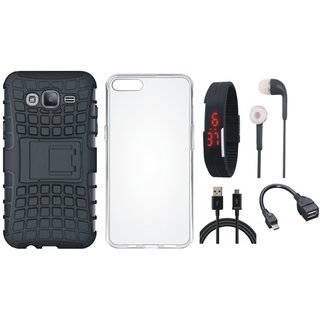 Samsung J7 Pro Shockproof Kick Stand Defender Back Cover with Silicon Back Cover, Digital Watch, Earphones, OTG Cable and USB Cable
