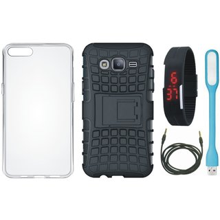 Oppo F7 Shockproof Kick Stand Defender Back Cover with Silicon Back Cover, Digital Watch, USB LED Light and AUX Cable