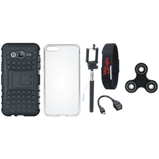 Samsung J7 Pro Shockproof Kick Stand Defender Back Cover with Spinner, Silicon Back Cover, Selfie Stick, Digtal Watch and OTG Cable