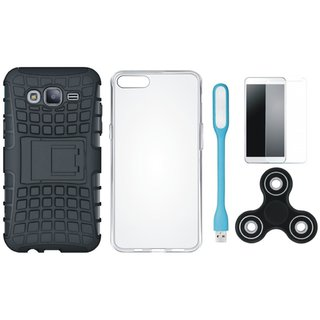 Samsung J7 Pro Shockproof Kick Stand Defender Back Cover with Spinner, Silicon Back Cover, Tempered Glas and USB LED Light
