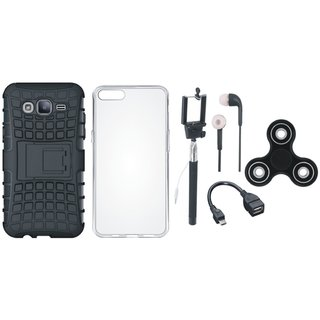 Samsung J7 Pro Shockproof Kick Stand Defender Back Cover with Spinner, Silicon Back Cover, Selfie Stick, Earphones and OTG Cable