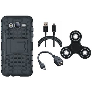 Oppo F7 Shockproof Kick Stand Defender Back Cover with Spinner, OTG Cable and USB Cable