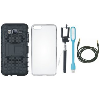 Samsung J7 NXT Defender Tough Armour Shockproof Cover with Silicon Back Cover, Selfie Stick, USB LED Light and AUX Cable