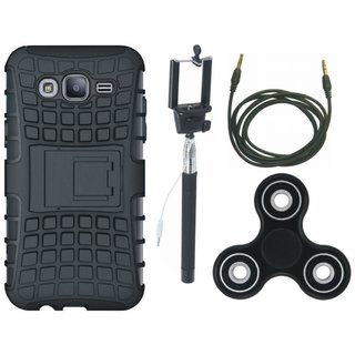 Oppo F7 Shockproof Kick Stand Defender Back Cover with Spinner, Selfie Stick and AUX Cable