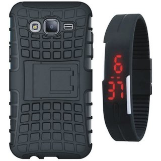 OnePlus 3 Shockproof Kick Stand Defender Back Cover with Digital Watch