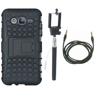 Samsung On7 Prime Shockproof Tough Defender Cover with Selfie Stick and AUX Cable