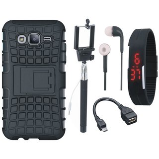 Samsung On7 Prime Shockproof Tough Defender Cover with Selfie Stick, Digtal Watch, Earphones and OTG Cable
