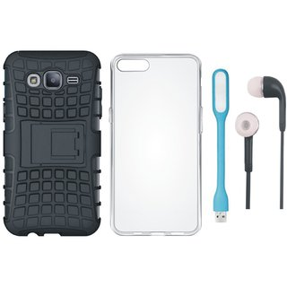 Samsung On7 Prime Shockproof Tough Defender Cover with Silicon Back Cover, Earphones and USB LED Light