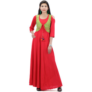 d35d0bd3d6e58e Buy Red Rayon Round Neck Kurti With Green Printed Cotton Jacket(Length-56)  Online - Get 60% Off