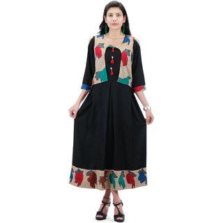 70e1d8d9b49818 Buy Rayon Umbrella Design Kurti With Printed Cotton Fabric Jacket  (Length-50) Online - Get 58% Off