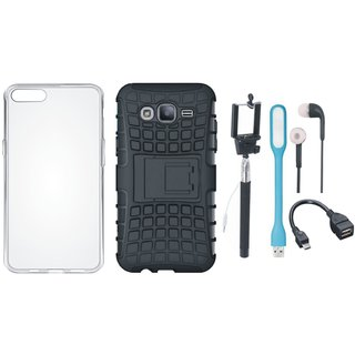 Samsung J7 NXT Defender Back Cover with Kick Stand with Silicon Back Cover, Selfie Stick, Earphones, OTG Cable and USB LED Light