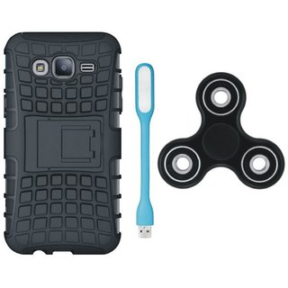 Samsung J7 NXT Defender Back Cover with Kick Stand with Spinner, USB LED Light