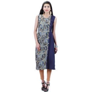 25814a9597a61f Buy Rayon Double Layered Printed   Plain Kurti (Sleeveless) Online ...