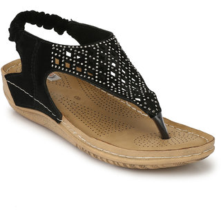 Zachho Black Suede Artificial Foam Leather embellished with sparkles Doctor Sole for Extra Comfort- TPR 1.5 Strap Sandals