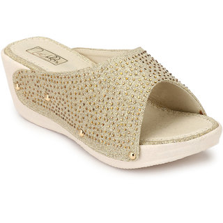 Zachho Gold Imported Fabric with Glitters Airmix 2 Slip On Wedges