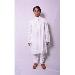 Aarti Men's White Plain Kurta Payjama Set