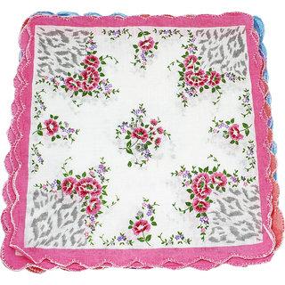 Neska Moda Pack Of 12 Women Floral Cotton Handkerchiefs 30X30 CM H29